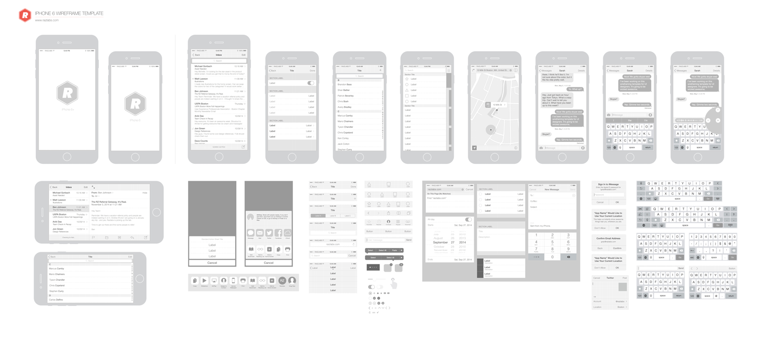 updated free vector wireframing toolkit for iphone 6 ios 8 the design ocean. Black Bedroom Furniture Sets. Home Design Ideas